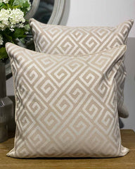 WGH Cream Greek Key Cushion Cover