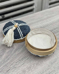 Beaded Bamboo Round Box