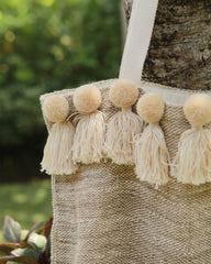 Beige Fringe Beach Bag