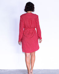 Maria Dress - Red Small Circle