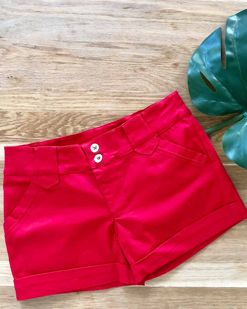 Daisy Shorts Red