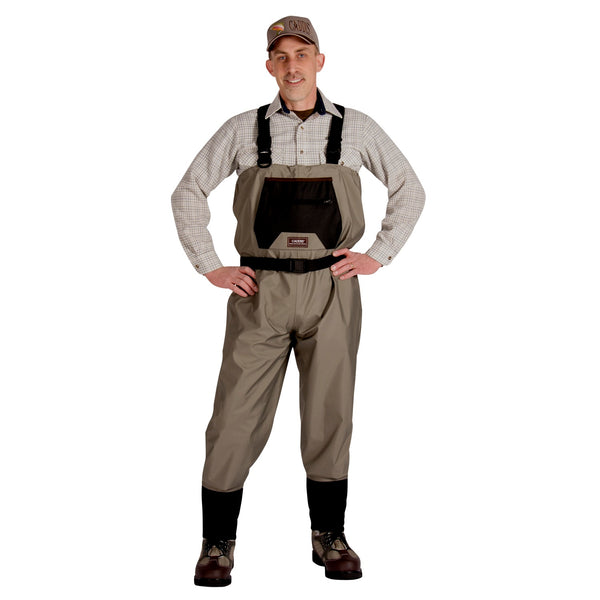 Caddis Mens Breathable Stockingfoot Waders - Medium Tan