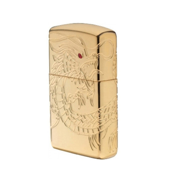 Zippo Gold Plate with Epoxy Inlay Asian Dragon Lighter