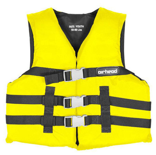AIRHEAD NYLON YOUTH PFD, OPEN SIDE, YELLOW