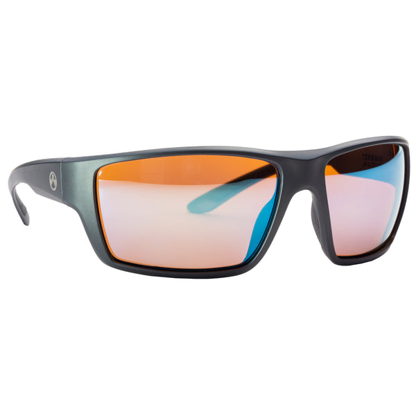 Terrain, Glasses, Matte Gray Frame, Rose/Blue Lenses, Medium/Large, Polarized Lenses MAG1021-930