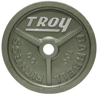 "Troy High Grade Fully Machined Gray ""WideFlanged"" Olympic Plate, 100 lbs"