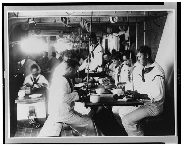 1899 Photo Shows Sailors Eating On The USS Olympia, Which Was The US's Flagship During The Spanish-American War