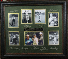 a framed picture of legends of golf with signatures