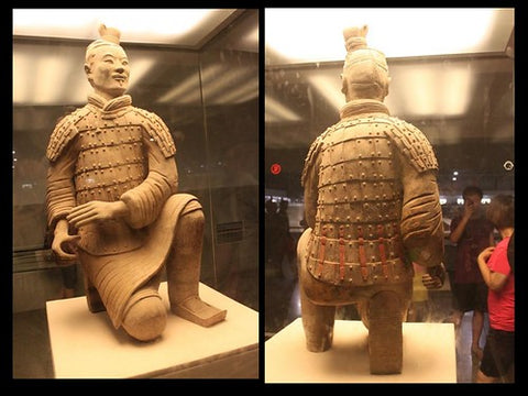 Museum Picture Of The Xian Terracotta Kneeling Archer Warrior