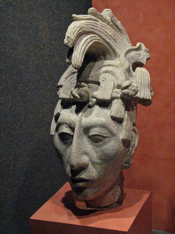 Picture Of The Bust of King Pakal The Great, From The Palenque Museum.