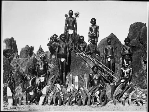picture of a group of aboriginal men wearing a penis cover