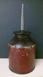 Oil Can, Round Base, Long Body Tapers In, Threaded Neck Vertical Spout - Roadshow Collectibles