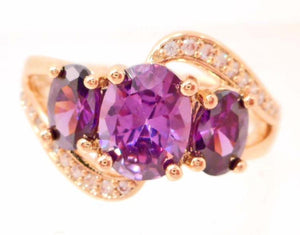 18k Gold Filled Purple Amethyst and White Topaz Ring - Roadshow Collectibles