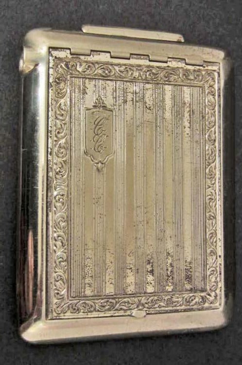 1921 Art Deco Cigarette Case, the Lid is Monogrammed, CANADA 1921 marking inside Case - Roadshow Collectibles