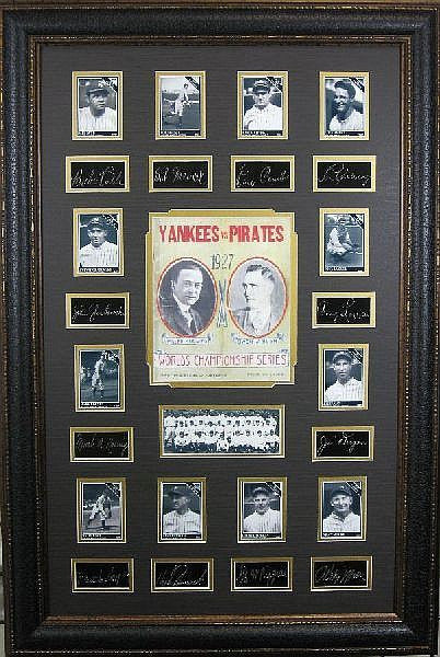 1927 World Champion Yankees Memorabilia with Plate Signatures Framed - Roadshow Collectibles