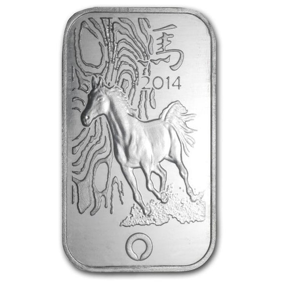 1 Ounce Chinese Silver Bar Year of the Horse Theme 2014 Rand Refinery - Roadshow Collectibles