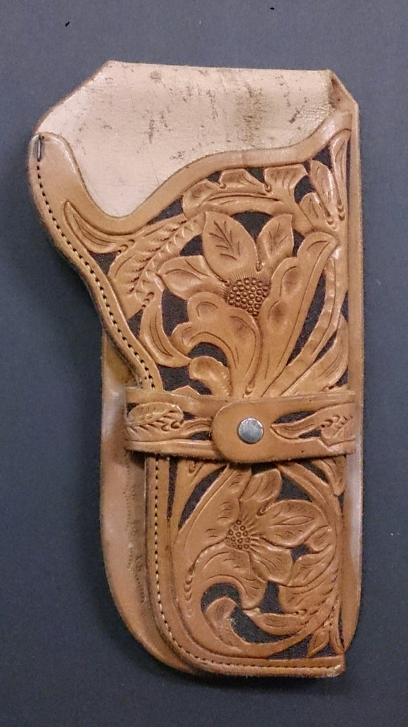 Tanned Leather Holster Right Hand Two-Toned Tooled By Skilled Craftsmen - Roadshow Collectibles