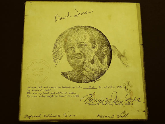 Burl Ives Proposed Album Cover Artwork with Two Decca Records - Roadshow Collectibles