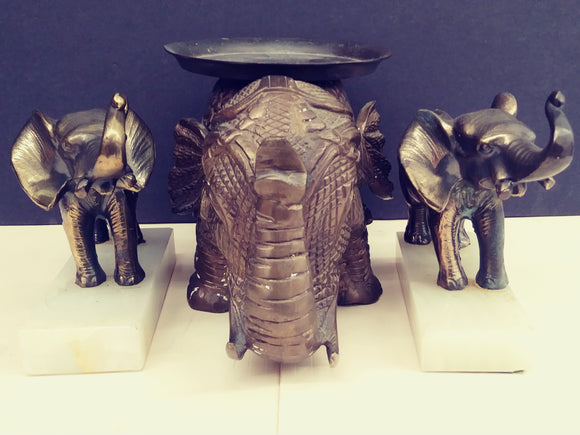 Brass Elephant Bookends W/Elephant Stand to place Keys/Large Candle - Roadshow Collectibles
