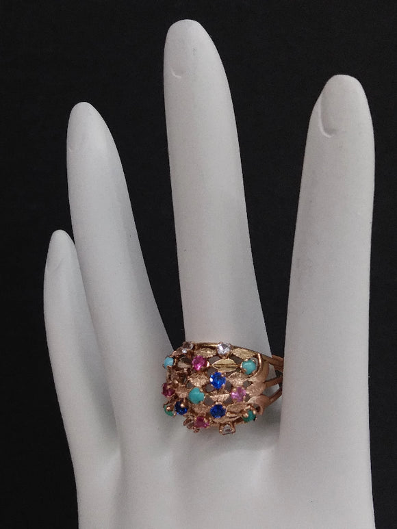 Gold Ring 14K, Multi-Coloured Stones - Roadshow Collectibles