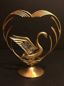 Swan Wrapped Around Heart with Austrian Crystals, 24k Gold Plated - Roadshow Collectibles
