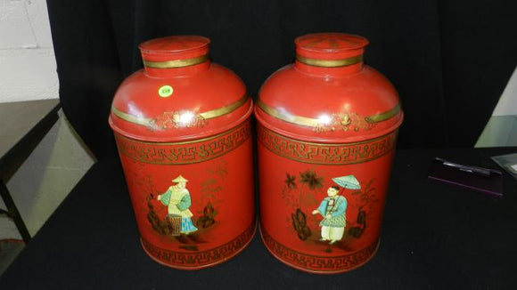 Two Large Asian Lidded Metal Urns with Beautiful Hand Painted Scenes - Roadshow Collectibles