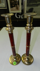"Candlestick Holders 12"" Pair Of Elegant Home Decor Brass & Wood Finish - Roadshow Collectibles"