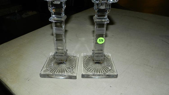 Candlestick Holders, a Pair, Etched Crystal - Roadshow Collectibles