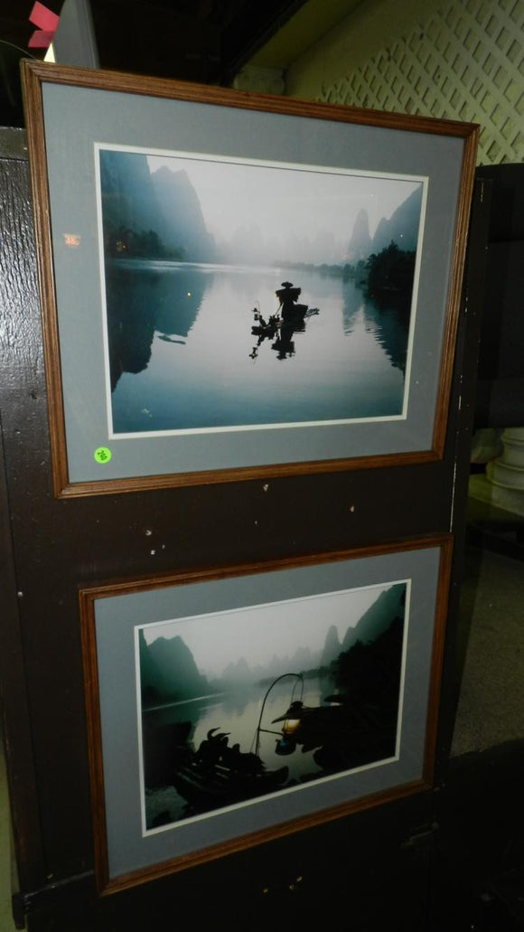 Photos, Framed and Matted, Asian Man Fishing with His Cormorant Birds - Roadshow Collectibles