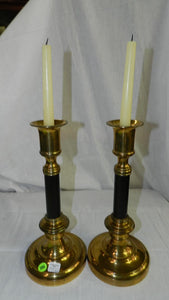 Mid-Century Modernist Brass & Black Candlestick Holders, a Pair - Roadshow Collectibles