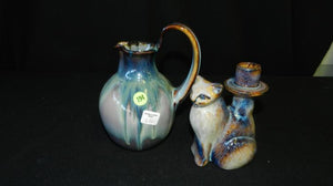 Cat Candlestick Holder & Pitcher Studio Pottery Matching Colour Theme - Roadshow Collectibles