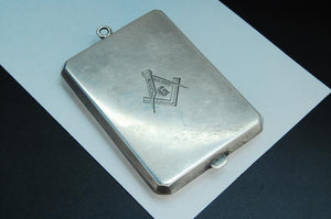 Masonic Match Box, Sterling Silver, Inlaid 14k Gold, Marked ELB - Roadshow Collectibles