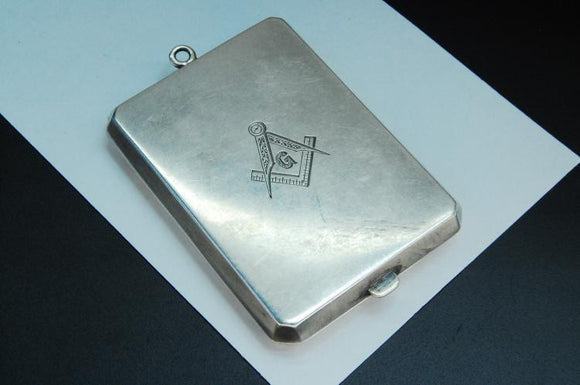 Masonic Match Box, Sterling Silver with Inlaid 14k Gold, Personalized Marked ELB - Roadshow Collectibles