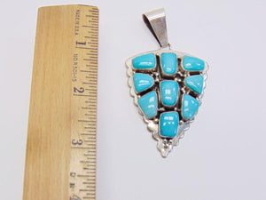 Navajo Sterling Silver Turquoise Pendant, Signed Ray Bennett Sterling - Roadshow Collectibles