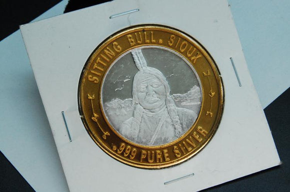 999 Silver Coin Ingot Sitting Bull Sioux United Native American Series - Roadshow Collectibles