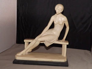 Woman On Bench, Bonded Marble and Alabaster, By A. Santini Sculptures - Roadshow Collectibles