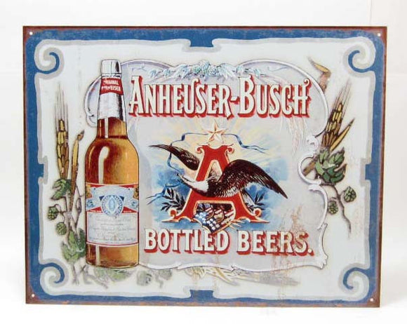 Anheuser-Busch Bottled Beers Metal Sign, Repro - Roadshow Collectibles