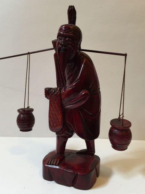 Japanese Fisherman, Catch Of The Day, Hand Carved Redwood - Roadshow Collectibles