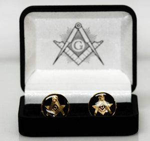 Masonic Cufflinks, Black & Gold, Square & Compass, Center The Letter G - Roadshow Collectibles