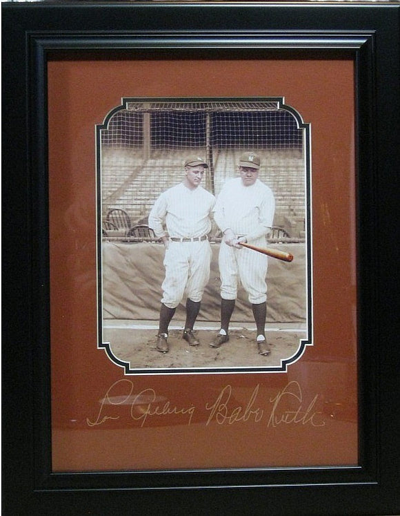 Photo of Babe Ruth and Lou Gehrig Framed with Plate Signatures - Roadshow Collectibles