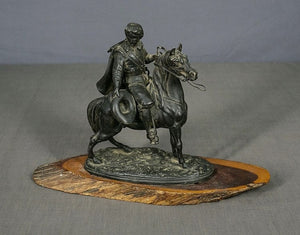Man On Horseback, Sculpture In Bronze, On a Mulga Wood Stand - Roadshow Collectibles