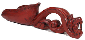 Burmese Rice Scooper, Teakwood, Hand Carved, Red Lacquer Ware - Roadshow Collectibles