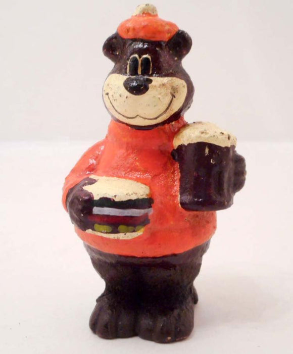 A&W Root Beer Bear Mascot Bank, Holding a Burger and Mug, Cast Iron - Roadshow Collectibles