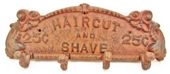 Wall Plaque Hat Stand, Cast Iron, Four Hooks, Haircut & Shave 25 Cents - Roadshow Collectibles