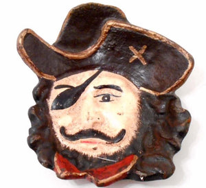 Pirate Face Cast Iron Plate, Can Hold Loose Change Keys Whatever Else - Roadshow Collectibles