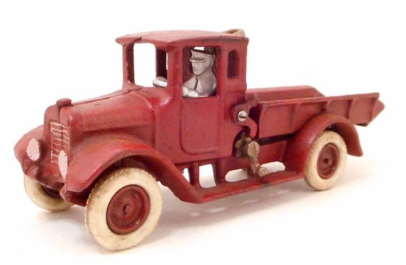 Toy Red Dump Truck, Cast Iron, Male Driver - Roadshow Collectibles