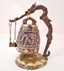 Chinese Bronze Bell, Detailed Relief Of Dragons and Geometric Shapes - Roadshow Collectibles