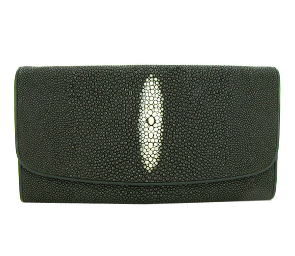 Dark Green Ladies Stingray Hide Clutch Purse Wallet - Roadshow Collectibles