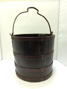 Hand Made Wood Water Bucket with Wrought Iron Bands and Handle - Roadshow Collectibles
