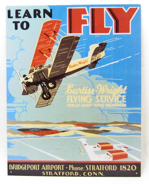 Curtiss-Wright Flying Service Metal Sign, Repro - Roadshow Collectibles